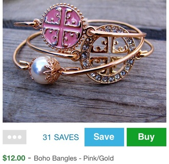 bangles jewels bracelets boho pink pearl preppy stacking bracelets