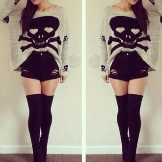 sweater high waisted shorts black long socks blouse skull oversized sweater shorts grey dead head large skull sweater punk grunge