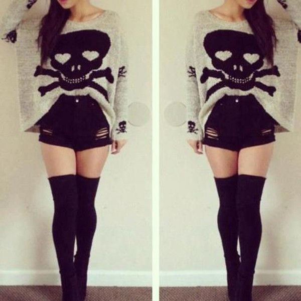 sweater High waisted shorts black long socks blouse skull oversized sweater shorts grey dead head large skull sweater punk grunge