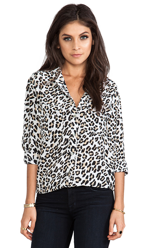 Equipment signature modern leopard printed blouse in bright white from revolveclothing.com