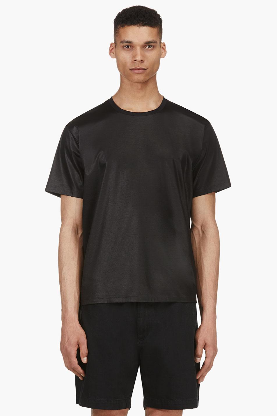 T By Alexander Wang Black Satin Logo T Shirt