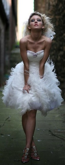 dress feathers wedding reception dress