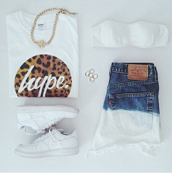 white top bandeau denim shorts white sneakers statement necklace ootd shorts shirt shoes jewels top