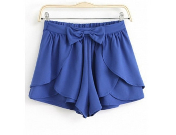 casual chic bow shorts blue shorts tulip