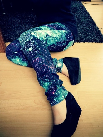 pants universe galaxy print long pants