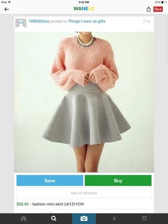 sweater skirt grey gray pink sweater