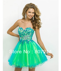 Online Shop 2014 Charming Prom Dresses - Turquoise & Lime Strapless Short Prom Dress|Aliexpress Mobile