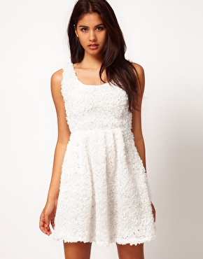 Rare | Rare Ruffle Skater Dress with Open Back at ASOS