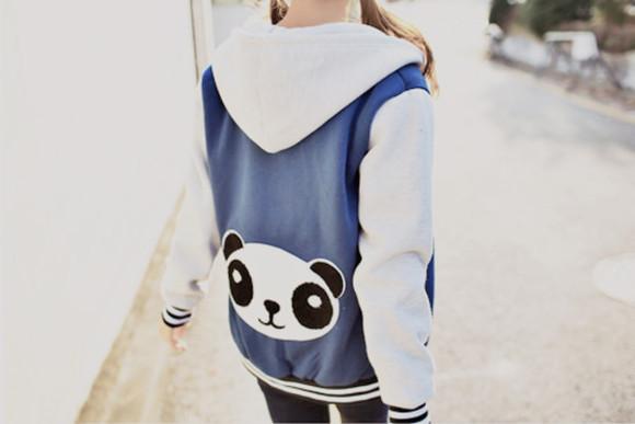 hoodie jacket coat panda kfashion kfashion probably white hood