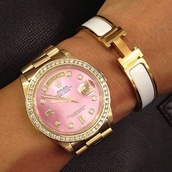 jewels,rolex,bracelets,gold,pink,pink face,watch,gold watch,watches for women,jewelry