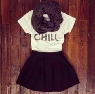 skirt leather skirt black skirt white t-shirt purple scarf