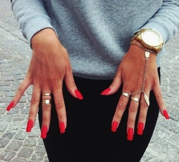 jewels bracelets ring gold bracelet jewelry hand chain hand jewelry gold watch nail art sweater pants nail polish red nails red nails nail accessories