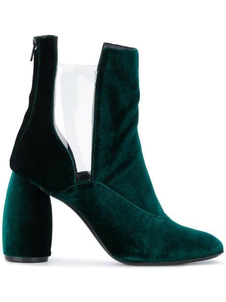 transparent women leather velvet green shoes