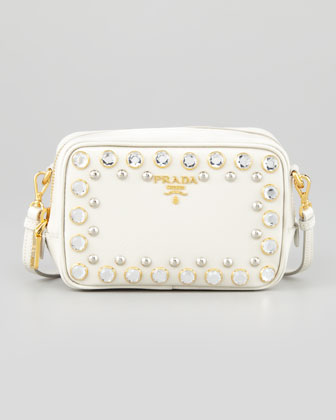2a5767f5 Prada Saffiano Mini Zip Crossbody Bag, Pink - Neiman Marcus