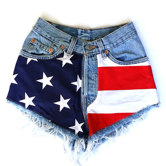 7780cceef051 Levis Vintage High Waisted Cut off Jean Shorts American Flag ...