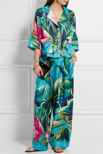 pajamas matching set hawaiian floral streetwear