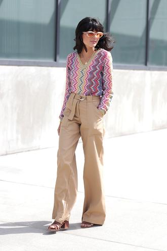 pants wide leg beige pants beige pants wide-leg pants top printed top pattern streetstyle