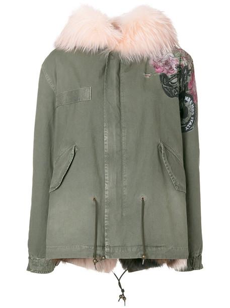 Mr & Mrs Italy coat parka fur fox women cotton green
