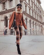 sweater,top,knitted sweater,belt,checkered pants,cropped pants,sock boots,cap,shoulder bag,sunglasses