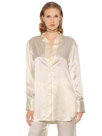 shirt oversized silk top