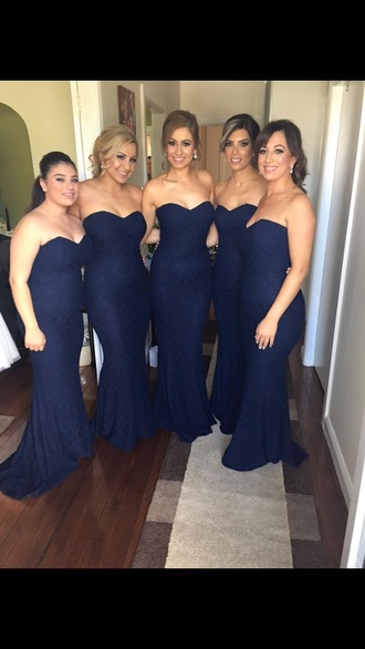 dress bridesmaid boob tube dress mermaid prom dress navy bodycon