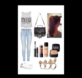 blouse grey jeans light blue t-shirt jewels bag make-up meow cats muscle tee light wash jeans high waisted jeans nails hair fringes converse shirt