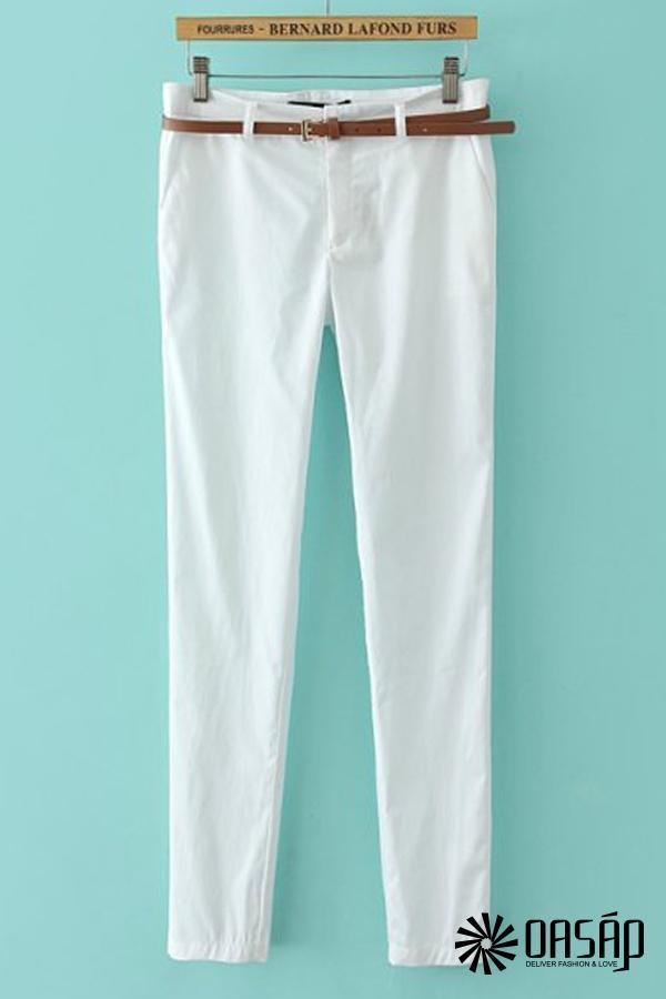 Neat Solid Color Pants - OASAP.com