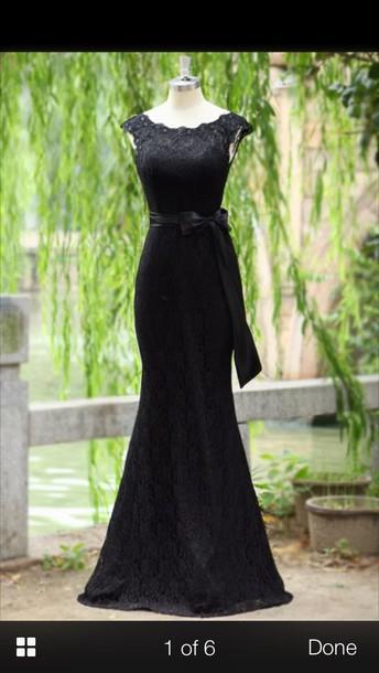 dress black prom lace lace dress prom dress bow dress