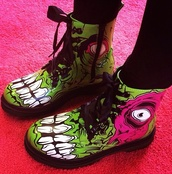 shoes,zombie,green,pink,eye,evil eye,gore,punk,rock,punk rock,goth,hipster,boots,DrMartens,grunge,goth hipster