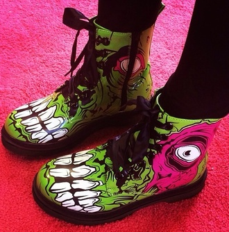 shoes zombie green pink eye evil eye gore punk rock punk rock goth hipster boots drmartens grunge goth hipster
