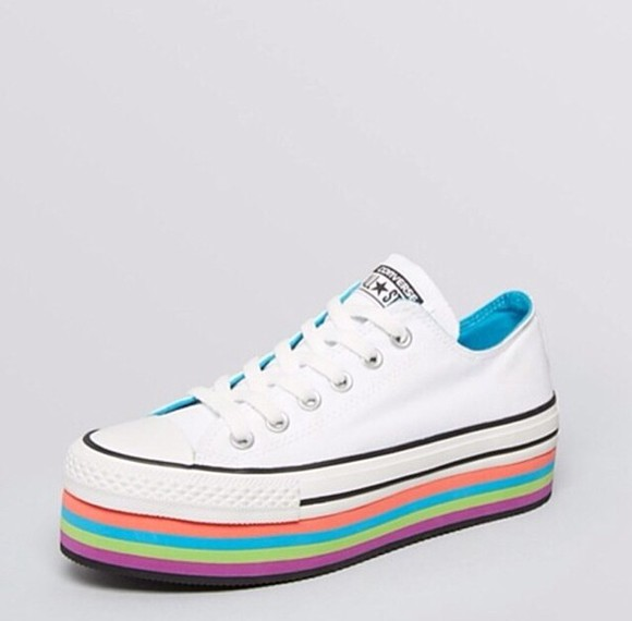 rainbow cute shoes platform converse sneakers colors