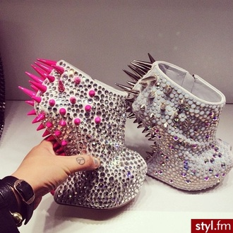 shoes giuseppe zanotti pink rivets diamonds high heels