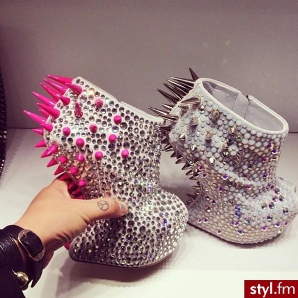 shinning crystal pumps pink spikes no heel rhinestone new