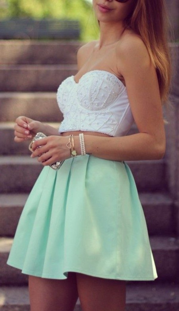 crop tops skirt bustier beaded mini mint green skirt