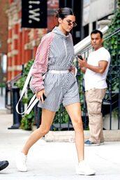 shorts,top,jacket,stripes,sneakers,kendall jenner,kardashians,streetstyle,model off-duty,modern