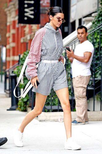 shorts top jacket stripes sneakers kendall jenner kardashians streetstyle model off-duty modern