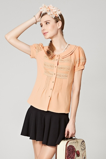 Sweet Doll Collor Puff Sleeves Shirt [FDBI00438]- US$ 65.99 - PersunMall.com