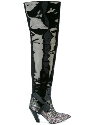 high women boots thigh high boots leather cotton black shoes