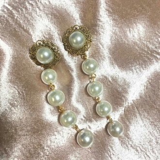 hair accessory earrings earnings pearl white gold jewelry long silver accessory acessories jewels pearl earrings