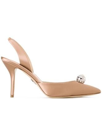 back women embellished pumps leather silk brown shoes