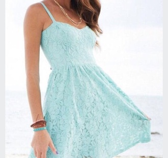 dress teal dress flower lace