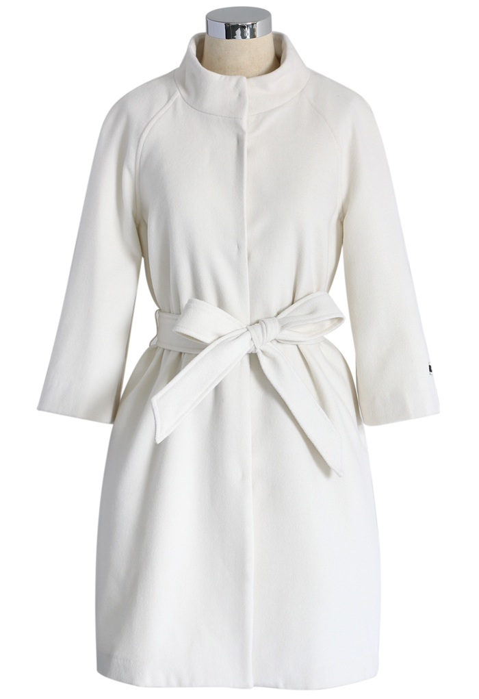 Little White Mid-sleeve Wool-blend Belted Coat - Retro, Indie and Unique Fashion