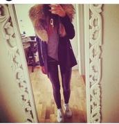 fur collar coat,leather leggings