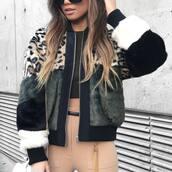 jacket,tumblr,fur jacket,faux fur jacket,multicolor,pants,nude pants,top,crop tops,ombre hair,long hair,leopard print,animal print,fall jacket,army green jacket,printed fur jacket