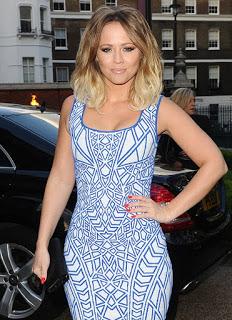 She wore it: kimberley walsh rvn geo signature bright blue & white contrast geometric aztec print sleevelessbodycon dress