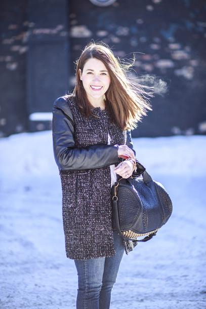 sequins and stripes coat blouse jeans shoes jewels bag