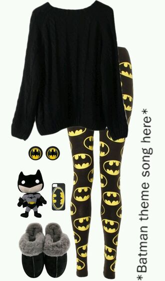 leggings batman black yellow sweater dress