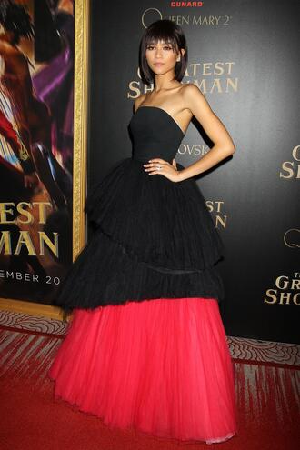 dress gown prom dress red carpet dress zendaya strapless tulle dress