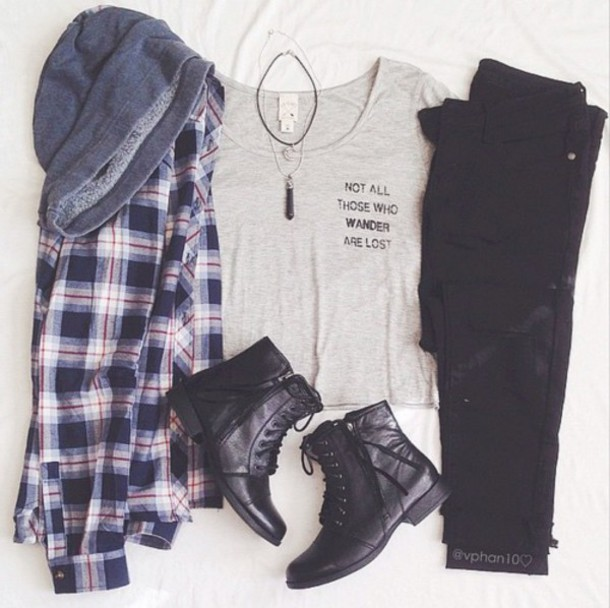 jacket plaid jacket shirt t-shirt not all those who wander are lost grey grey shirt grey t-shirt not all those who wander are lost shirt not all those who wander are lost grey shirt flannel plaid aesthetic quote blouse flannel shirt quote on it