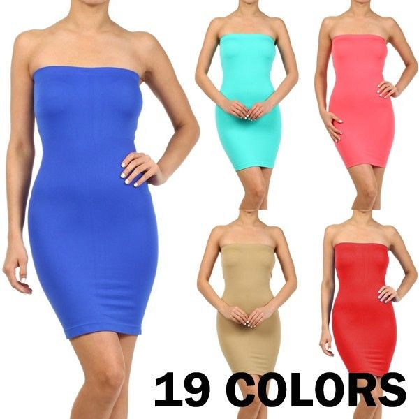 N21 Strapless Tube Seamless Mini Dress Stretch Sexy Mini Slim Fit One Sz S1720